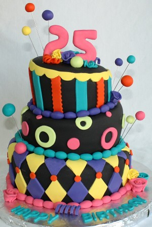 Awesome Colorful Tiered 1980S Whimsical Birthday Cake Jeanne Flickr Funny Birthday Cards Online Alyptdamsfinfo