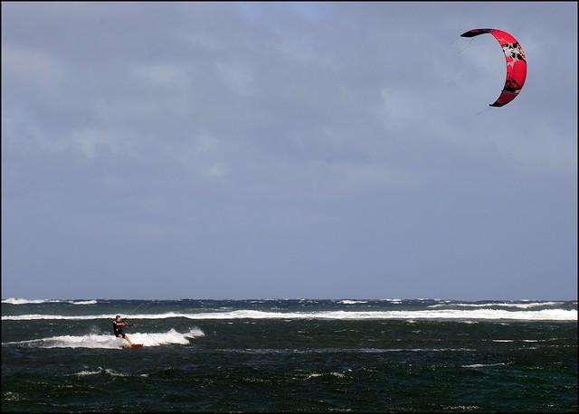 Kite-sailing off Shipwreck Beach, Lanai