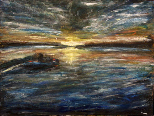 winter sunset sky usa cloud lake reflection art painting boat lawrence artwork kansas