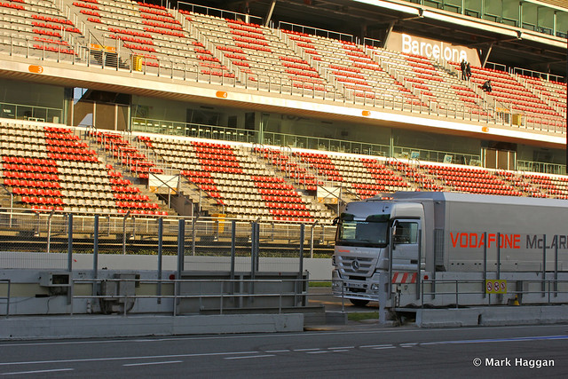 A McLaren truck on the circuit from the pit lane at Formula One Winter Testing, 3rd March 2013
