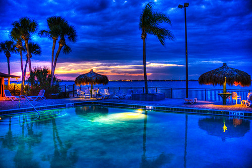 blue trees sunset usa sun tree beach pool set night evening bay us with unitedstates florida dusk side melbourne tint palm fl melbournebeach fla hdr