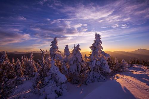winter sunset snow mountains adirondacks
