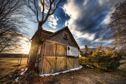 sunset clouds barn ma nikon mainstreet doors decay farm massachusetts newengland flare shack fairhaven preservation landtrust acushnet 1424mm trigphotography frankcgrace d800e