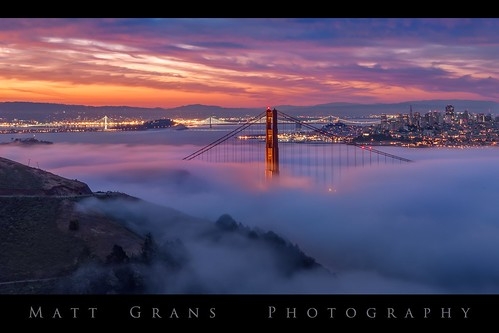 sanfrancisco skyline goldengatebridge fog clouds sunrise morning california