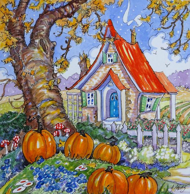 Signs of the Season Storybook Cottage original Alida Bayne Akers