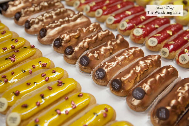 Passion Raspberry eclairs, Pecan praline, and raspberry