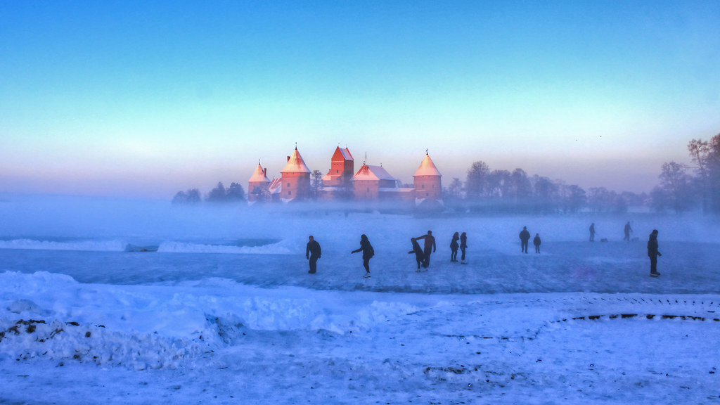 0342 Lithuania Trakai Ice Skaters Hdr Ice Skaters In