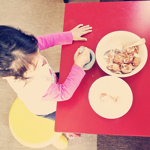 We are pounding eggshells for daddy's garden today. ✌  #montessori #praticallife | by feli*