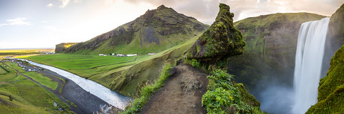 skógafoss iceland island camping panorama view perspective waterfall river water green nature