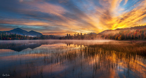 statepark morning autumn clouds forest sunrise canon reeds adirondacks whiteface adambaker canon24105l connerypond 5dmkii