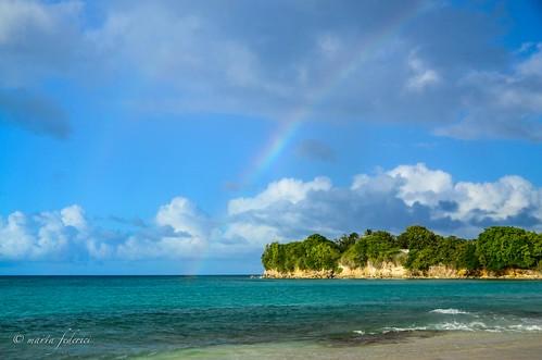 sunset sea mer rain arcoiris rainbow tramonto nuvole pluie nuages pioggia arcobaleno arcenciel coucherdusoleil vieuxfort mariegalante blinkagain
