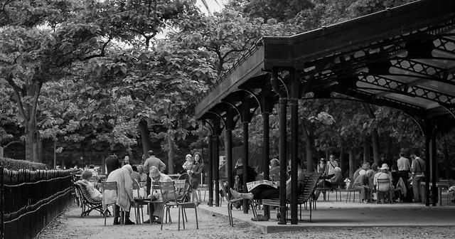 Les joueurs d'échecs du Jardin du Luxembourg, Paris. / Chess players.