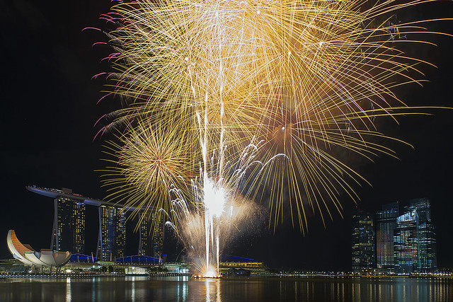 Fireworks at Marina Bay Sands Singapore