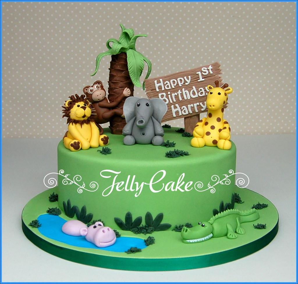 Miraculous Jungle 1St Birthday Cake A 1St Birthday Cake Designed Arou Flickr Personalised Birthday Cards Bromeletsinfo