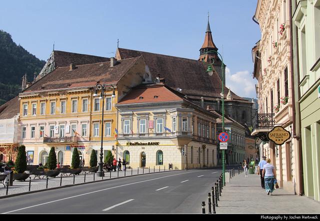 View along Strada George Bariţiu from Piața Sfatului, Brasov, Romania