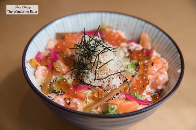 Szechuan Salmon Don - Szechuan pepper, salmon tartar, shoyu marinated ikura, crispy wild rice