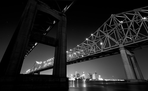 monochrome blackandwhite skyline downtown urban city crescent bridge river mississippi louisiana neworleans nola photography mohrman scott