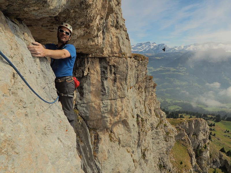 Classic limestone above Leysin. Climber: Kevin Savage