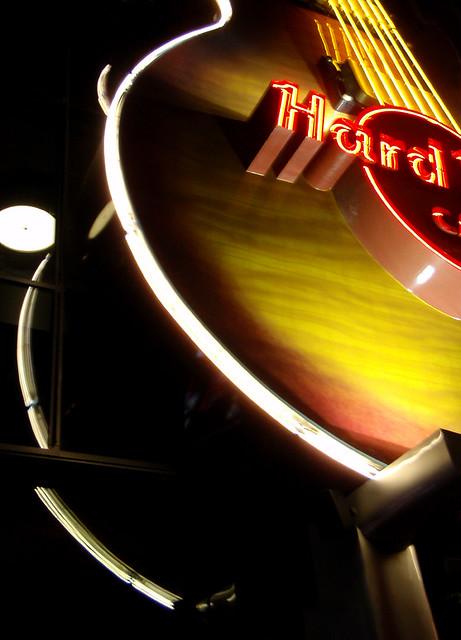 Hard Rock Cafe neon guitar sign in Las Vegas, Nevada