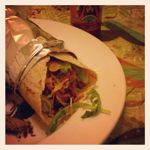 Pork, rice and arugula burrito. | by bobafred