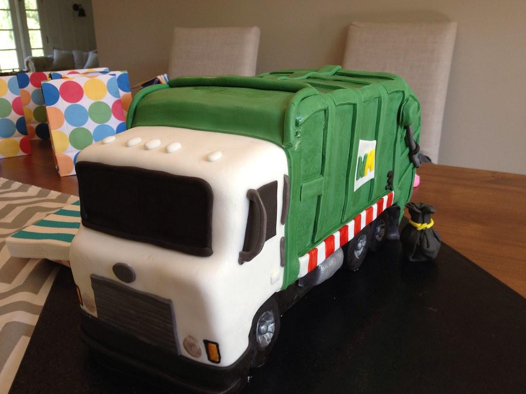 Astonishing Garbage Truck Birthday Cake A Photo On Flickriver Personalised Birthday Cards Veneteletsinfo