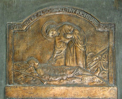 Christ comforts a dying soldier - war memorial detail by Ellen Rope