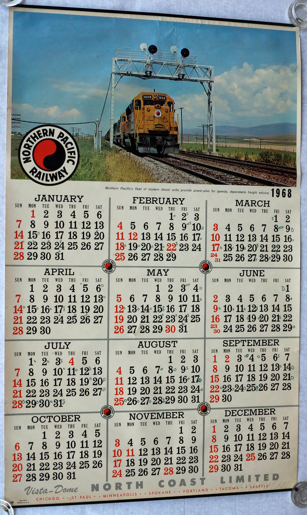 RD11342 1968 LARGE Northern Pacific Raildroad Calendar Diesel Mountains Form 5217 DSC04947