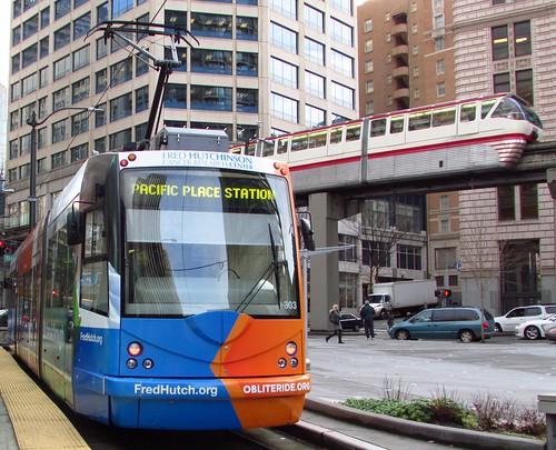 Seattle Streetcar 303 Inekon Trio (Obliteride/Fred Hutchinson wrap)