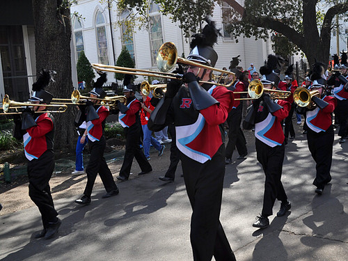 Archbishop Rummel High Band in the Krewe of Carrollton Parade on St Charles Ave