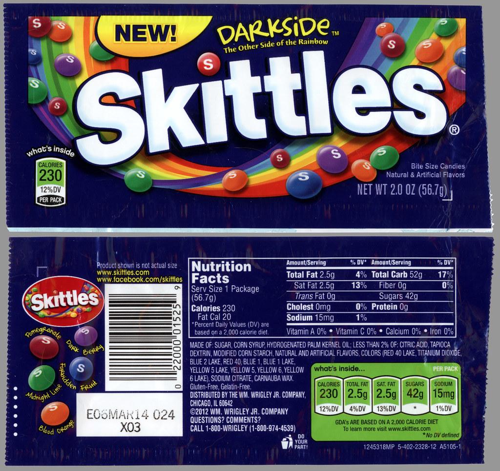 Wrigley - Skittles - Darkside - NEW - candy package - Dece