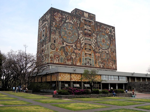 Cuidad Universitaria's crown jewel: the library.  Mural by Juan O'Gorman by bryandkeith on flickr