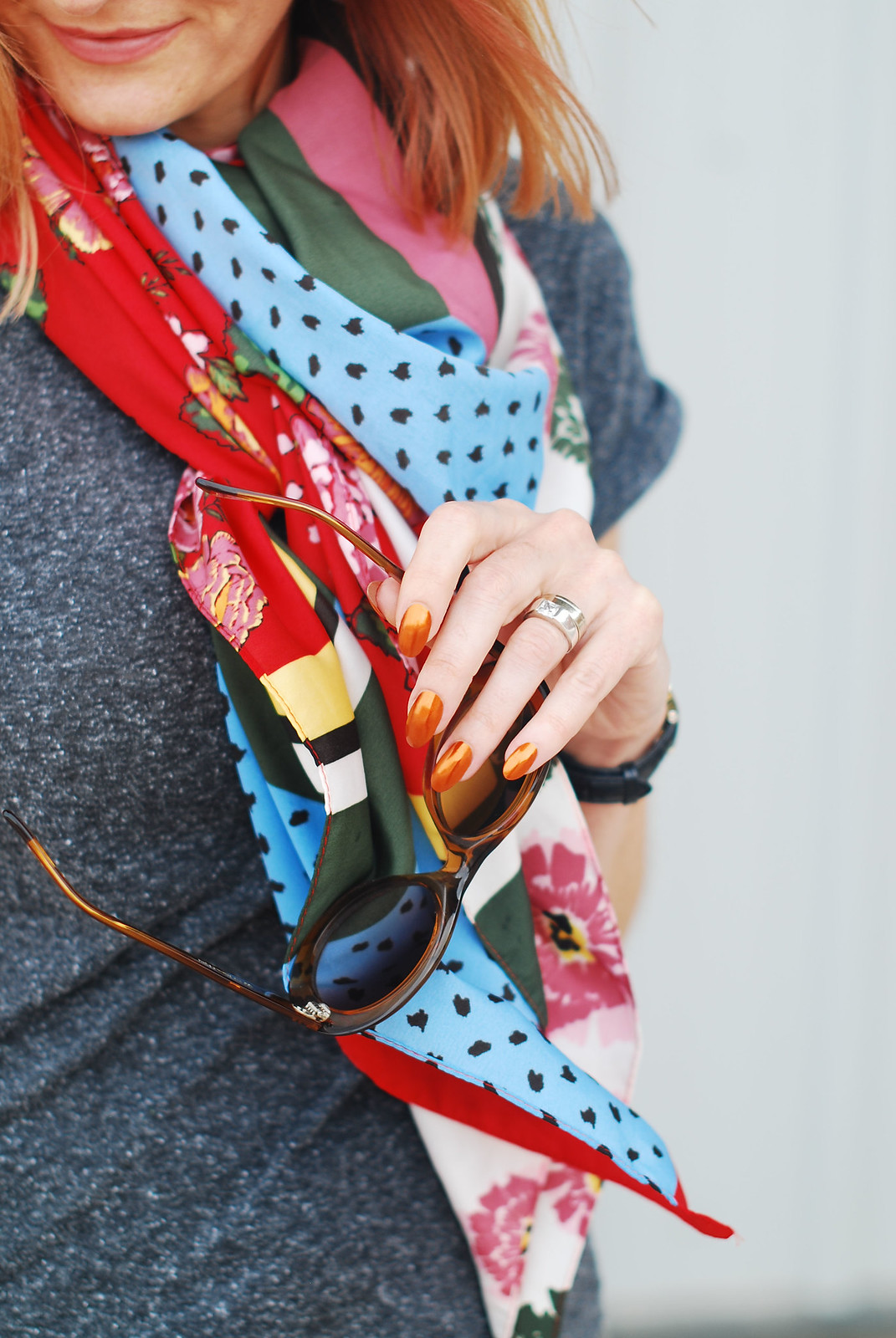 Simple grey and khaki outfit accessorised with brights: Multicoloured scarf, pink satchel bag, red lace-up espadrilles | Not Dressed As Lamb, over 40 style