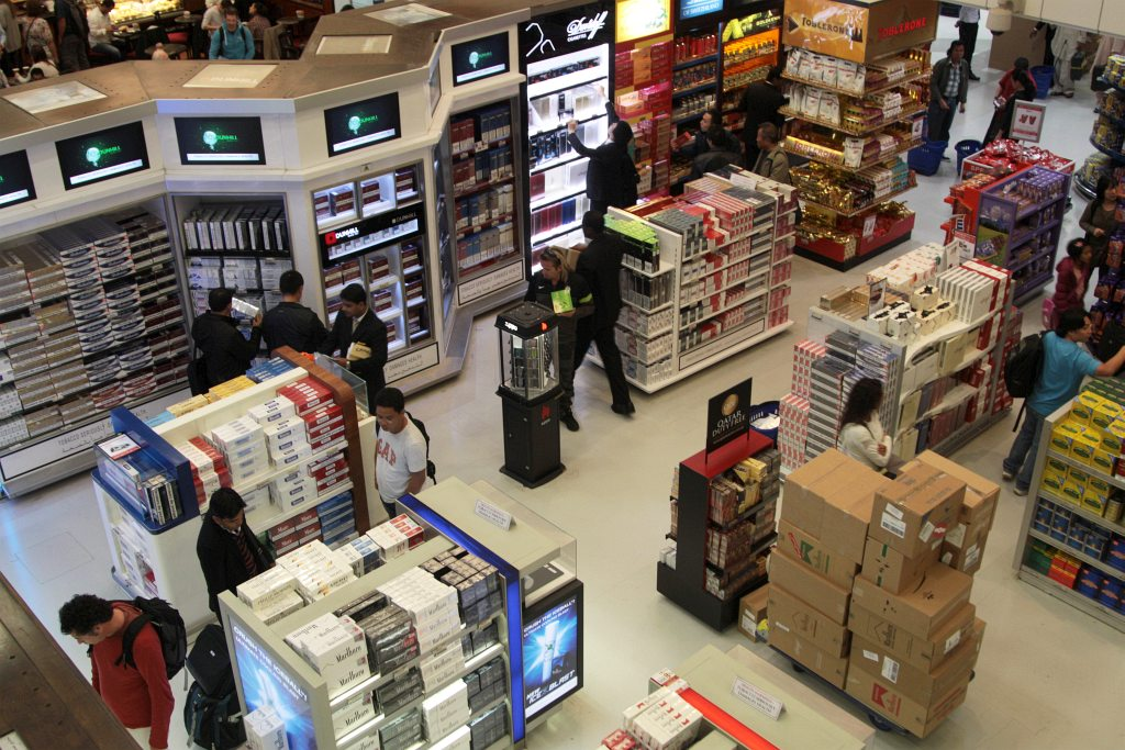 Cartons of cigarettes for sale in the airport duty free sh