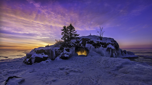 winter hollow rock sunrise - lake superior - minnesota | by Dan Anderson.