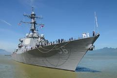 USS John S. McCain (DDG 56) approaches the pier in Da Nang, Vietnam, Sept. 29. (U.S. Navy/MC3 Madailein Abbott)