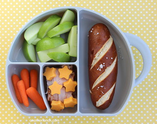 soft pretzel and apple lunch in Boon Elephant Trunk Snack Box | by anotherlunch.com