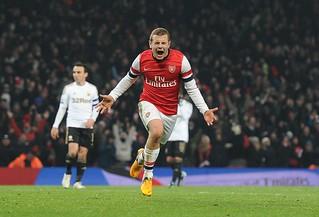 Jack Wilshere celebrates his goal v Swansea