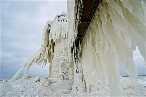 winter lighthouse snow ice pier michigan stjoseph lakemichigan catwalk lighthousetrek