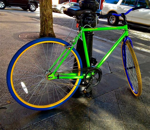 Blue, Yellow ,Green Bike
