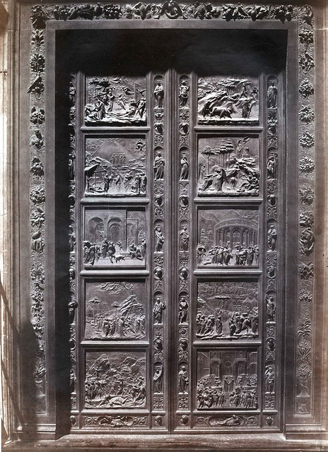 Fratelli Alinari -  Gates of Paradise by Lorenzo Ghiberti, Baptistery of San Giovanni, Florence, ca 1855