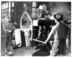 09. Willie Boone, Peter Foster, and Henry Booth tapping cupola. OK Foundry, 1954.