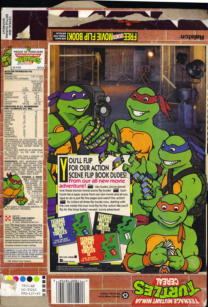 "Ralston ::""TEENAGE MUTANT NINJA TURTLES"" CEREAL - NEW PIZZA SHAPED MARSHMALLOWS PLUS FREE MOVIE FLIP BOOK INSIDE! ii (( 1991 )) by tOkKa"