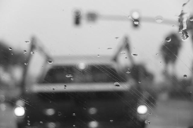 Barrett Avenue and San Pablo Avenue intersection on a rainy day