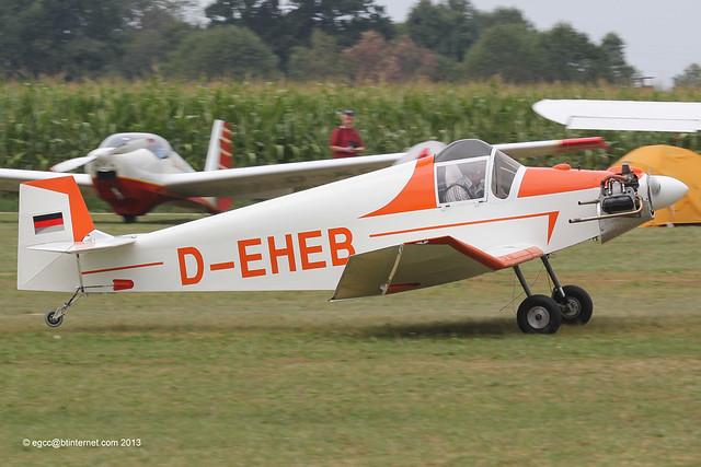 D-EHEB - 1959 build Jodel D.9 Bebe, arriving at Tannheim during Tannkosh 2013