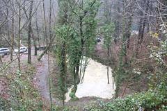 En la imagen se puede ver el caudal que lleva el río a su paso por la zona del Garbigune