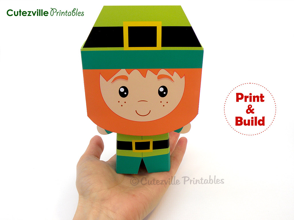 image regarding Leprechaun Printable named PDF Printable St. Patricks Working day Leprechaun Present Box - Edit