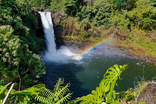 green landscape hawaii waterfall rainbow