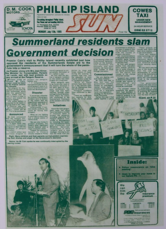 'Phillip Island Sun' July 15, 1985 - 'Summerland residents slam Government decision'