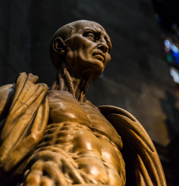 statue of St. Bartholomew with his own skin...