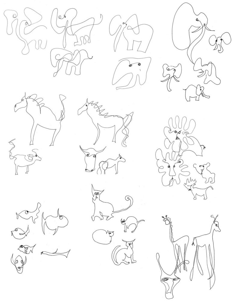 Day 1 drawing one line animals by regina hart